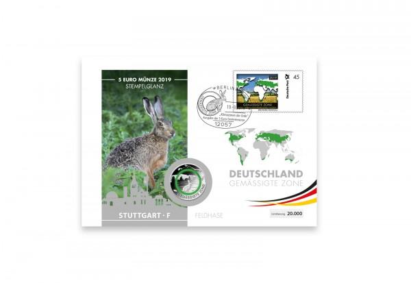 5 Euro 2019 Deutschland Gemäßigte Zone Feldhase mit Polymerring st Prägestätte F im Numisbrief