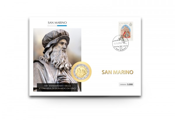 2 Euro 2019 San Marino 500. Todestag Leonardo da Vinci im Numisbrief