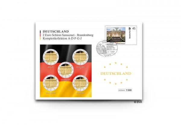 2 Euro 2020 Deutschland Brandenburg Schloss Sanssouci Prägestätte A-J st im Numisbrief